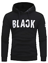 Men's Casual/Daily Simple Hoodie Solid Hooded Micro-elastic Cotton Acrylic Long Sleeve Fall Winter