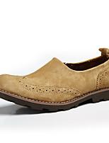abordables -Hombre Zapatos Cuero real Semicuero Primavera Otoño Confort Zapatos de taco bajo y Slip-On para Casual Café Color Camello Caqui