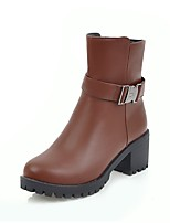Women's Boots Bootie Fall Winter Leatherette Casual Dress Buckle Zipper Chunky Heel Brown Beige Black 2in-2 3/4in