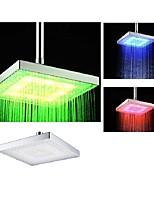 8 Inch Chrome Temperature Control Heat Sensor Colorful LED Shower Head Rain Shower