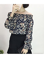 Women's Casual/Daily Sexy Blouse,Solid Floral Print Off Shoulder Long Sleeves Cotton