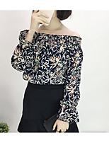 Для женщин На каждый день Блуза С открытыми плечами,Секси Однотонный Цветочный принт С принтом Длинный рукав,Хлопок
