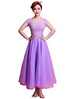 Ballroom Dance Dresses Women's Performance Stretch Yarn Lace Tulle Milk Fiber 1 Piece Short Sleeve Dresses