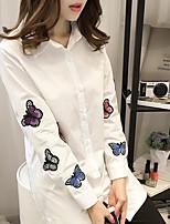 Damen Druck Einfach Lässig/Alltäglich Hemd,Quadratischer Ausschnitt Frühling Langarm Baumwolle Mittel