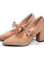 Damen High Heels Komfort Sommer PU Normal Kleid Schnalle Block Ferse Schwarz Kamel 5 - 7 cm