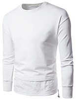 cheap -Men's Daily Sports Casual Chinoiserie Sweatshirt Solid Round Neck Micro-elastic Cotton Long Sleeve Spring/Fall