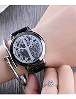 Men's Women's Wrist watch Chinese Quartz Genuine Leather Band Unique Creative Cool Black