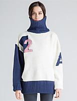 Women's Casual/Daily Simple Short Pullover,Solid Print Color Block Turtleneck Long Sleeves Wool Cotton Acrylic Fall Winter Thick