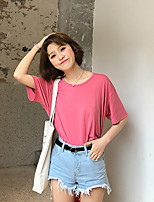 Women's Casual/Daily Simple T-shirt,Solid Boat Neck Short Sleeves Cotton