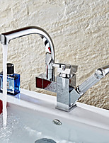 Contemporary Pull-out/­Pull-down Vessel Widespread Rotatable Pull out with  Ceramic Valve Chrome , Kitchen faucet
