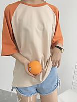 T-shirt Da donna Casual Semplice Monocolore Alfabetico Rotonda Cotone Manica corta
