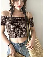 Для женщин На выход На каждый день Лето Блуза Вырез лодочкой,Секси Гусиная лапка С короткими рукавами,Хлопок