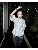 Women's Casual/Daily Simple Shirt,Solid Shirt Collar Half Sleeves Cotton