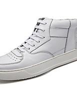 Da uomo Sneaker Comoda Primavera Autunno PU (Poliuretano) Casual Lacci Piatto Bianco Nero Piatto