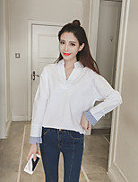 Women's Casual/Daily Simple Spring Shirt,Solid Striped V Neck Long Sleeves Cotton Medium