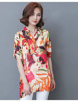 Women's Casual/Daily Simple Blouse,Print Stand Short Sleeves Polyester