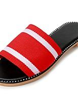Damen Slippers & Flip-Flops Komfort Sommer Stoff Kleid Kombination Flacher Absatz Schwarz Rot 5 - 7 cm