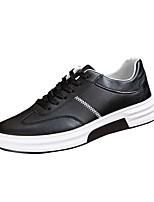 Men's Sneakers Light Soles Spring Fall PU Casual Lace-up Flat Heel Black/Red Gray Black Flat