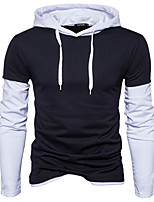 Men's Sports Going out Casual/Daily Simple Vintage Active Sexy Hoodie Solid Color Block Patchwork Hooded Micro-elastic Cotton Long Sleeve