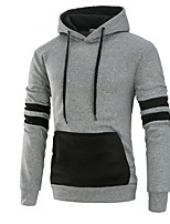 Men's Sports Casual/Daily Simple Hoodie Color Block Hooded Micro-elastic Acrylic Long Sleeve Fall Winter