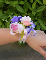 Wedding Flowers Wrist Corsages Wedding Organza Satin 1.97