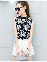 Women's Casual/Daily Sophisticated Tank Top,Print Round Neck Sleeveless Polyester
