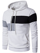 Men's Plus Size Sports Plus Size Running Going out Casual/Daily Simple Hoodie Color Block Check Cut Out Hooded Micro-elastic CottonLong