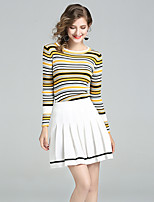 YIYEXINXIANGWomen's Going out Casual/Daily Simple Fall T-shirt Skirt SuitsStriped Round Neck Long Sleeve