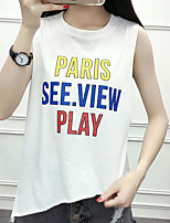 Women's Going out Simple T-shirt,Solid Letter Round Neck Short Sleeves Cotton