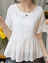 Women's Casual/Daily Simple Blouse,Solid Round Neck Half Sleeves Cotton Others