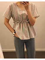 Women's Casual/Daily Simple Shirt,Solid Striped Deep V Short Sleeves Polyester