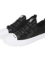 Men's Sneakers Light Soles Spring Fall PU Casual Lace-up Flat Heel Black/White Flat