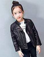Girls' Solid Jacket & Coat,PU Cotton Spring Fall Long Sleeve