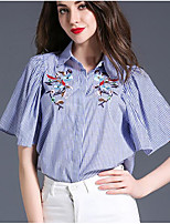 Women's Casual/Daily Simple Shirt,Print Shirt Collar Short Sleeves Others