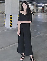Women's Casual/Daily Simple Summer T-shirt Pant Suits,Solid Strap Half Sleeves