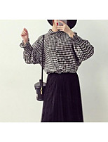 Women's Casual/Daily Simple Shirt,Solid Print Shirt Collar Long Sleeves Others