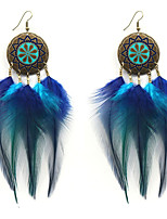 Lureme New Design Bohemia Blue Gradient Feather Tassel Dangle Earrings