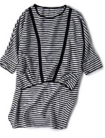 Women's Going out Casual/Daily Street chic Summer T-shirt,Striped Round Neck 3/4 Length Sleeves Polyester Medium