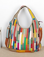 Women Bags All Seasons Cowhide Shoulder Bag Split Joint for Event/Party Casual Formal Outdoor Office & Career Rainbow