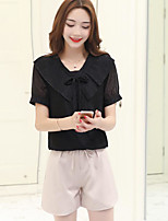 Women's Casual/Daily Simple Summer Blouse Pant Suits,Solid Square Neck Short Sleeve