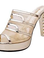 Da donna Pantofole e infradito Suole leggere Estate PU (Poliuretano) Casual Cristalli Quadrato Oro Nero Argento 5 - 7 cm