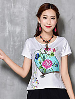 Women's Casual/Daily Chinoiserie T-shirt,Print Round Neck Short Sleeves Others
