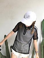 T-shirt Da donna Per uscire Semplice Tinta unita Colletto Cotone Manica corta