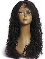 Donna Parrucche di capelli umani con retina Cappelli veri Lace frontale Senza colla e con tulle frontale 130% Densità Ondulati Onda riccia