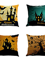 Set Of 6 Halloween Pillow Cover Novelty Creative Hallowmas Pumpkin Cushion Cover Square  Pillow Case