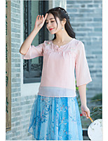 Women's Casual/Daily Cute Chinoiserie Blouse,Solid Round Neck 3/4 Length Sleeves Cotton