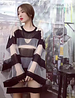 Women's Going out Street chic Summer T-shirt,Striped Round Neck Long Sleeves Others Thin