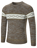 cheap -Men's Daily Casual Regular Pullover,Geometric Round Neck Long Sleeves Polyester Spandex Winter Fall Thick Micro-elastic