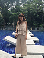 Women's Going out Boho Summer Blouse Pant Suits,Solid Strap Sleeveless