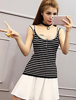 Women's Casual/Daily Simple Tank Top,Striped Strap Sleeveless Others